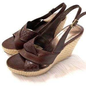 Theory Brown Leather Espadrille Wedge Sandals 6.5